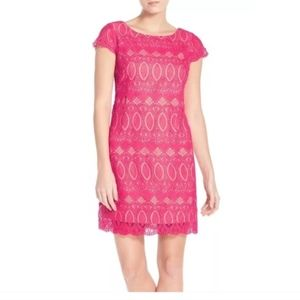 Eliza J. Pink Scalloped Lace Sheath Dress
